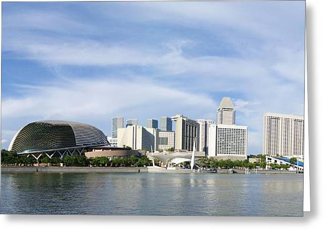 Buildings In The Harbor Greeting Cards - Singapore Waterfront   Greeting Card by Mountain Dreams