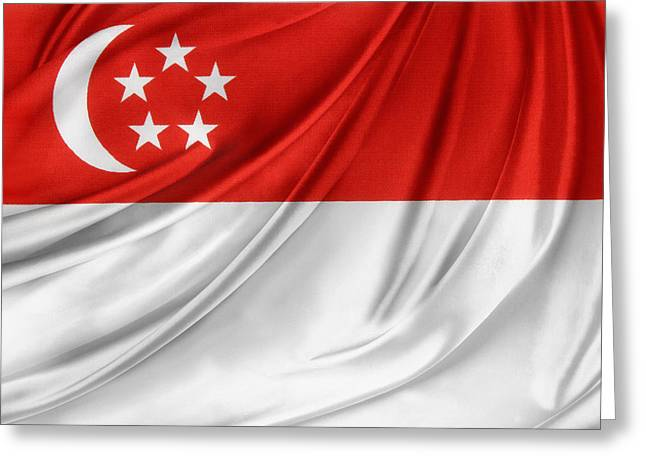 Abstract Waves Photographs Greeting Cards - Singaporean flag Greeting Card by Les Cunliffe