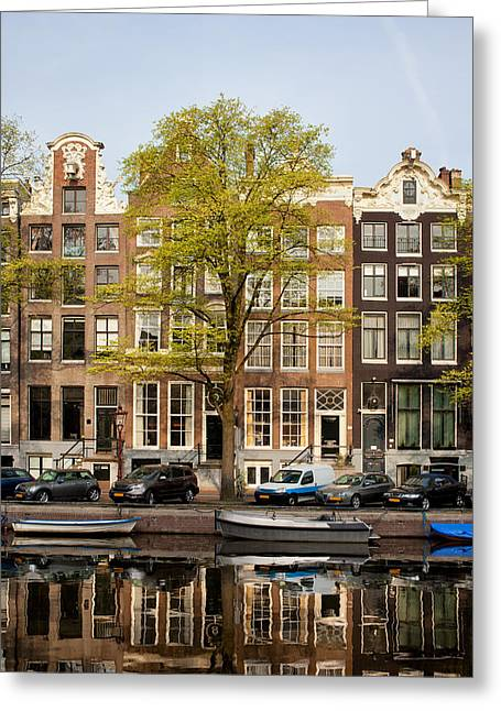 Historic Site Greeting Cards - Singel Canal Houses in Amsterdam Greeting Card by Artur Bogacki