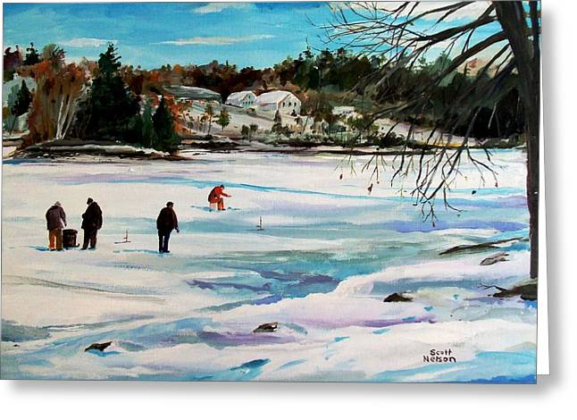 Scott Nelson And Son Paintings Greeting Cards - Singeltary Lake Ice Fishing Greeting Card by Scott Nelson