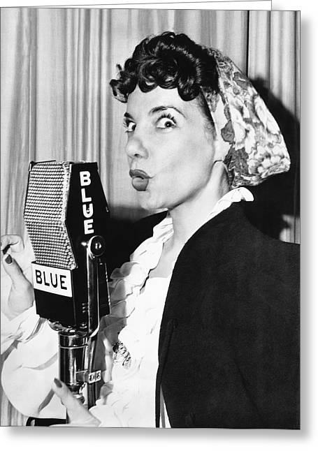 Miranda Greeting Cards - Singer Carmen Miranda Greeting Card by Underwood Archives