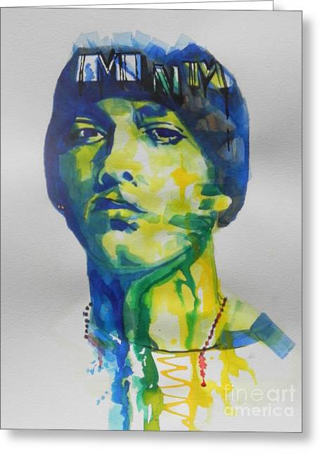 Abstract Expression Greeting Cards - Rapper  EMINEM Greeting Card by Chrisann Ellis