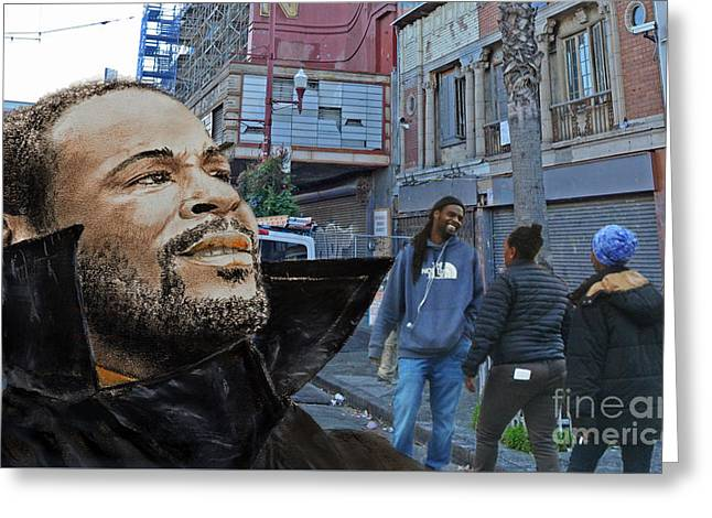 Sf Bay Bombers Mixed Media Greeting Cards - Singer Marvin Gaye Whats Going On Greeting Card by Jim Fitzpatrick
