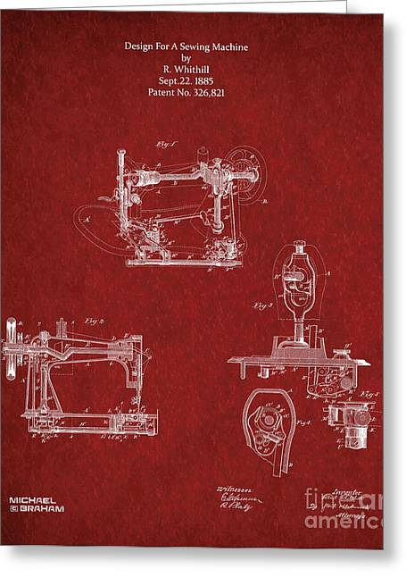 D.w. Mixed Media Greeting Cards - Singer Sewing Machine 1885 Greeting Card by Michael Braham