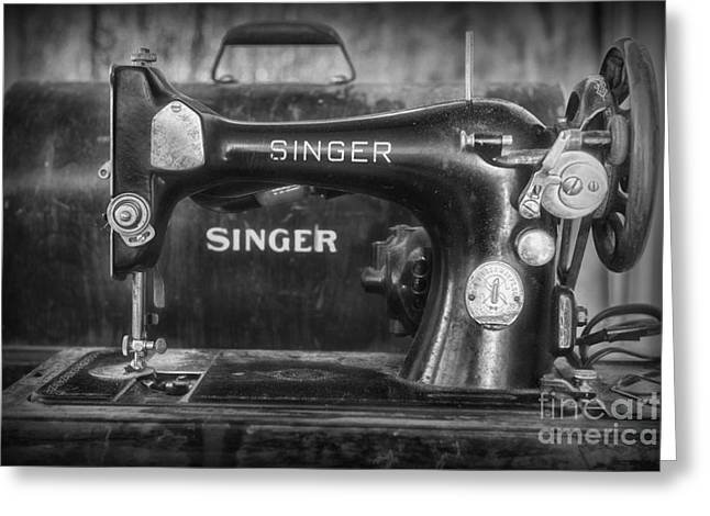 Sewing Hobby Greeting Cards - Singer Sewing Machine Retro Greeting Card by Paul Ward