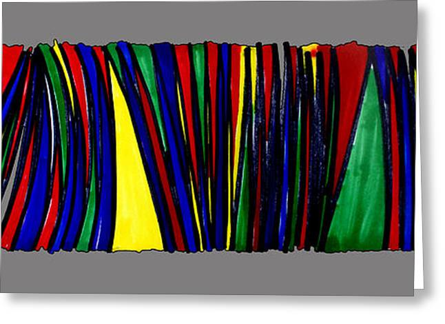 Zigzag Forms Greeting Cards - Singh Abstract 1 grey Greeting Card by Artist  Singh