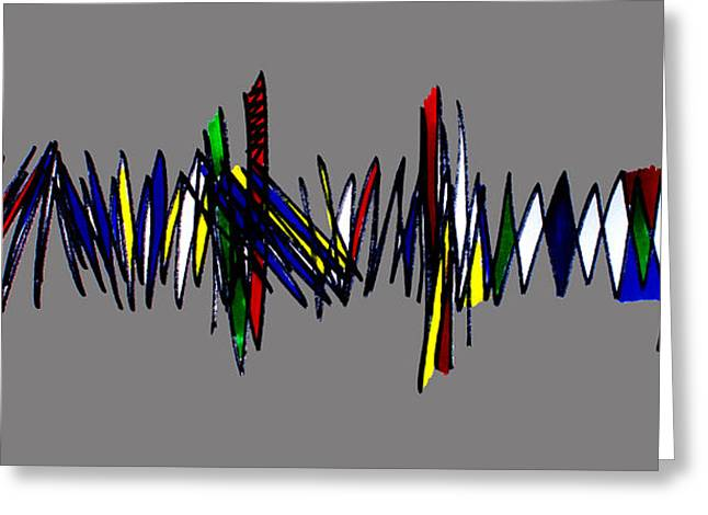Zigzag Forms Greeting Cards - Singh abstract 2 grey Greeting Card by Artist  Singh