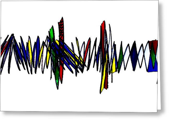 Zigzag Forms Greeting Cards - Singh Abstract 2 White Greeting Card by Artist  Singh