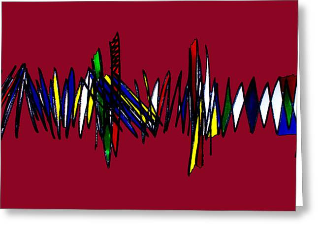Zigzag Forms Greeting Cards - Singh Abstract 3 Red Greeting Card by Artist  Singh