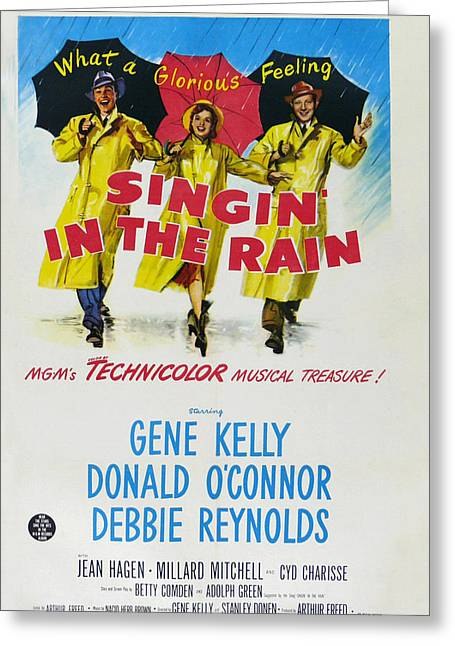 1950s Movies Greeting Cards - Singin in the Rain Greeting Card by Nomad Art And  Design