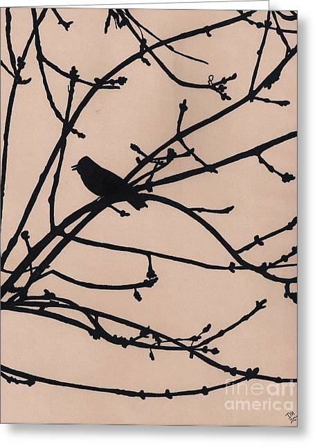 Bird On Tree Drawings Greeting Cards - Singing - At - Sunset Greeting Card by D Hackett
