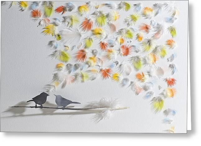 Feather Mixed Media Greeting Cards - Singing Bird 9 Greeting Card by Chris Maynard