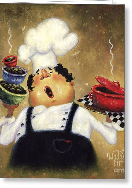 Vickie Wade Paintings Greeting Cards - Singing Chef Greeting Card by Vickie Wade
