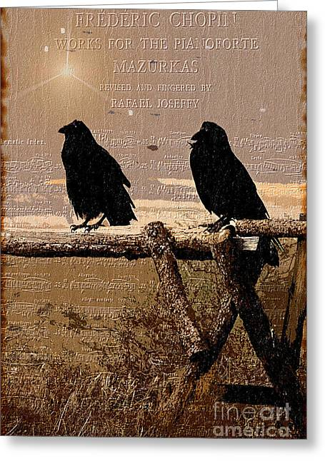 Crow. Bird Music Greeting Cards - Singing Crows Greeting Card by Barbara D Richards