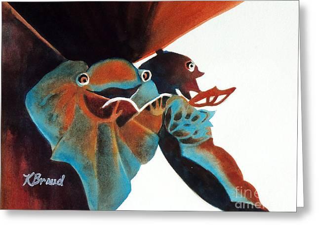 Singing Frog Duet 2 Greeting Card by Kathy Braud
