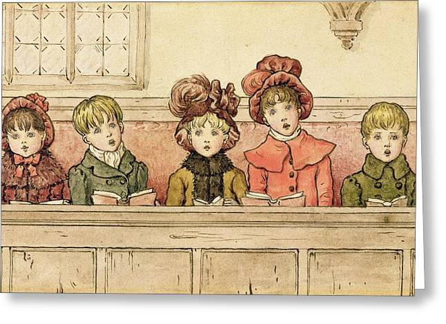 Children Drawings Greeting Cards - Singing In Church Greeting Card by Kate Greenaway