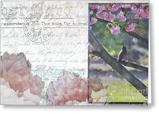 Waterscape Mixed Media Greeting Cards - Singing in the rain Greeting Card by Anahi DeCanio