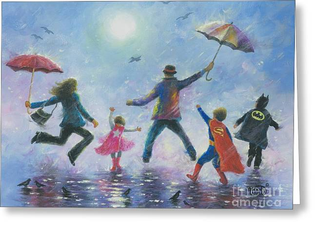 Supergirl Paintings Greeting Cards - Singing in the Rain Super Hero Kids Greeting Card by Vickie Wade