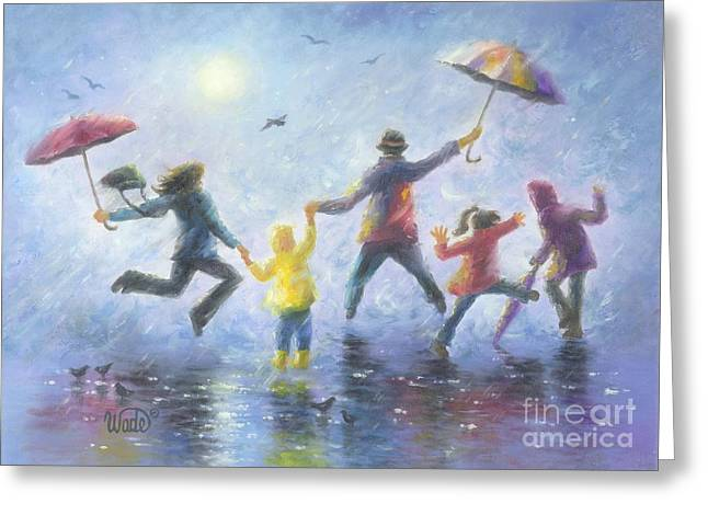 Vickie Wade Paintings Greeting Cards - Singing in the Rain Greeting Card by Vickie Wade