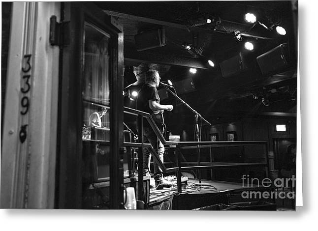 Singing On Bourbon Street Mono Greeting Card by John Rizzuto