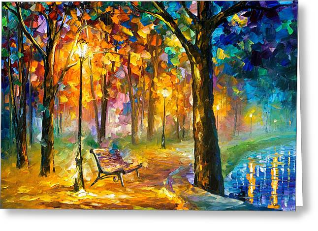 Recently Sold -  - Christmas Art Greeting Cards - Singing Park - PALETTE KNIFE Oil Painting On Canvas By Leonid Afremov Greeting Card by Leonid Afremov