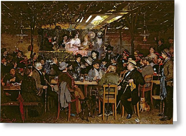 Shed Photographs Greeting Cards - Singing To A Captive Crowd Oil On Canvas Greeting Card by Otto Piltz