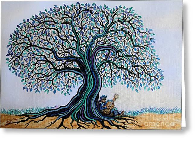 Strumming Greeting Cards - Singing under the Blues Tree Greeting Card by Nick Gustafson