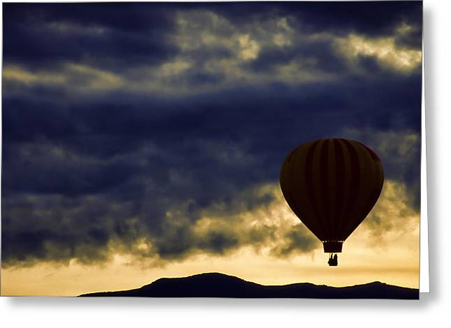 """hot Air Balloon"" Greeting Cards - Single Ascension Greeting Card by Carol Leigh"