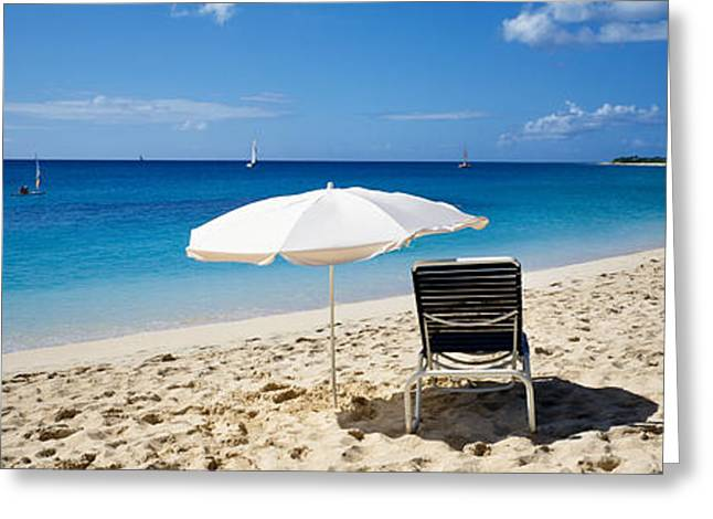 Blue Sailboats Greeting Cards - Single Beach Chair And Umbrella On Greeting Card by Panoramic Images