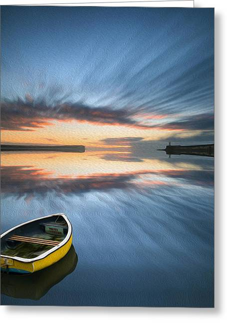 Colorful Cloud Formations Greeting Cards - Single boat floating on water during sunrise over sea with lighthouse digital painting Greeting Card by Matthew Gibson
