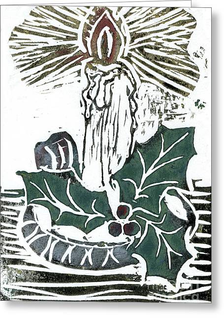 Relief Printing Greeting Cards - Single Candle with Holy Sprig  Block Print in color Greeting Card by Ellen Miffitt