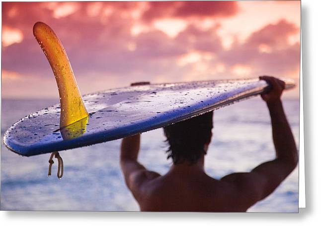 Surf Silhouette Greeting Cards - Single Fin Surfer Greeting Card by Sean Davey