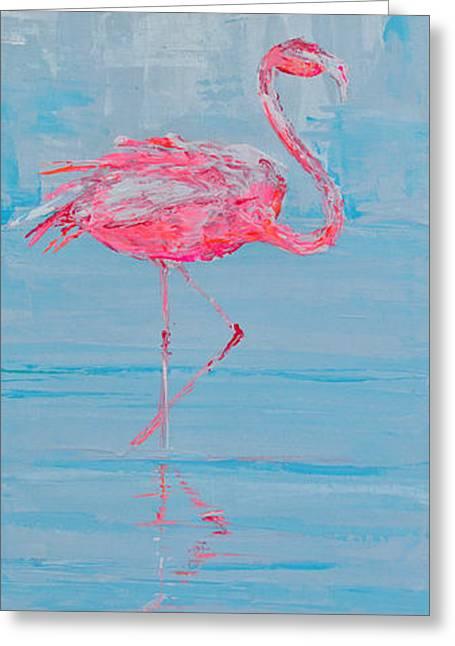 Salmon Paintings Greeting Cards - single flamingo I Greeting Card by Paola Correa de Albury