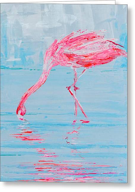 Salmon Paintings Greeting Cards - Single Flamingo Ii Greeting Card by Paola Correa de Albury