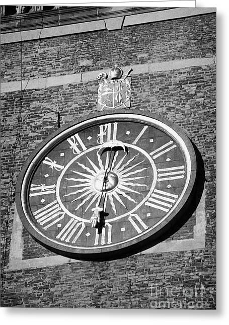 Polish City Greeting Cards - Single Hand Clock Face On The Red Brick Clock Tower Of Wawel Cathedral Krakow Greeting Card by Joe Fox