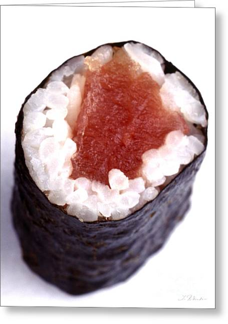 Ethnic Food Greeting Cards - Single Piece of maguro tuna Sushi  Greeting Card by Iris Richardson