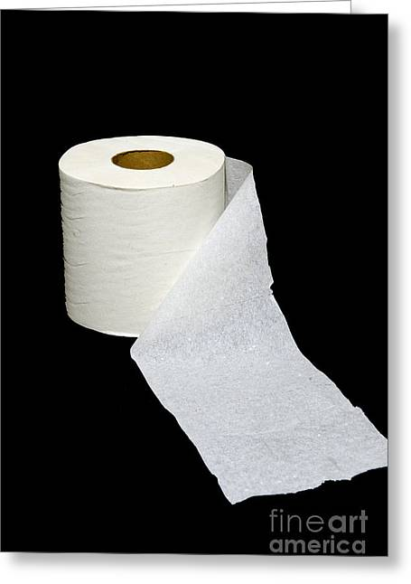 White On Black Greeting Cards - Single Ply Toilet Paper Greeting Card by Paul Ward