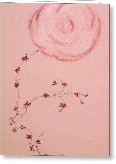 Trellis Pastels Greeting Cards - Single Rose and Vine Greeting Card by Christine Corretti