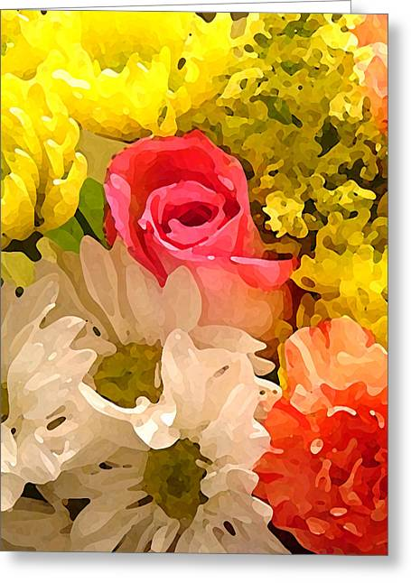 Flower Garden Greeting Cards - Single Rose Bouquet Greeting Card by Amy Vangsgard