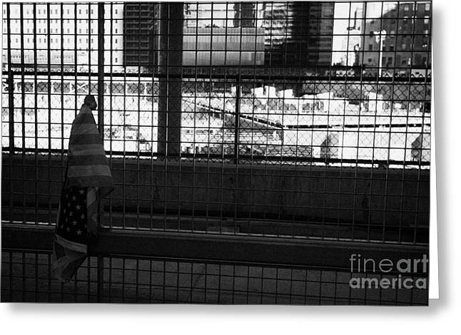 Single Small Memorial Us Flag Tied To The Fence At The World Trade Center Reconstruction Site  Greeting Card by Joe Fox
