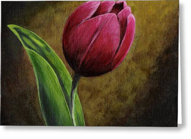 Single Tulip Greeting Card by Jesslyn Fraser