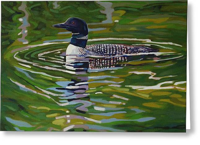 Appreciation Of Art Greeting Cards - Singleton Loon Greeting Card by Phil Chadwick