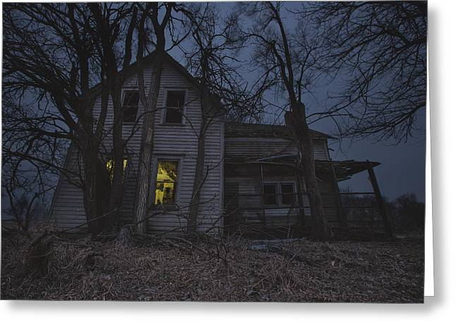 Abandoned Houses Photographs Greeting Cards - Sinister Greeting Card by Aaron J Groen