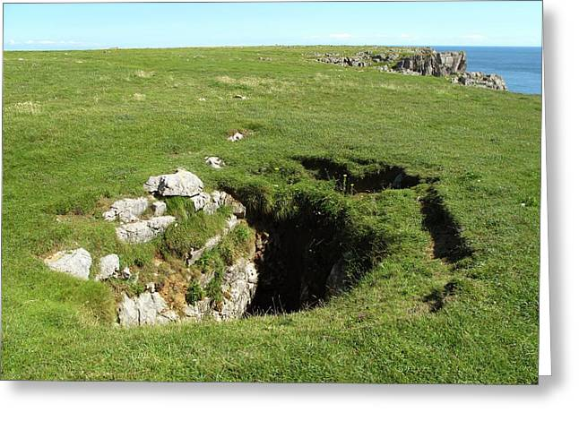 Sinkhole In Limestone Cliff Greeting Card by Cordelia Molloy