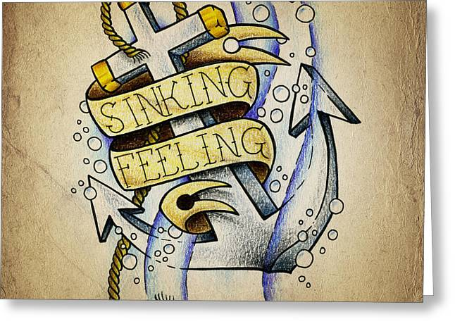 New School Greeting Cards - Sinking Feeling Greeting Card by Samuel Whitton