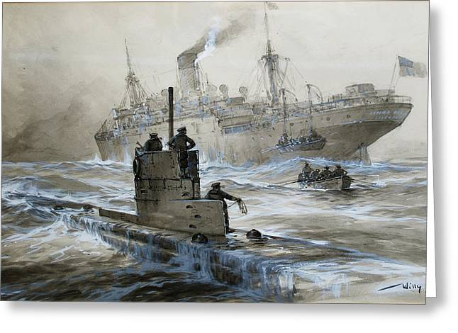 Blanche Greeting Cards - Sinking of the Linda Blanche out of Liverpool Greeting Card by Willy Stoewer