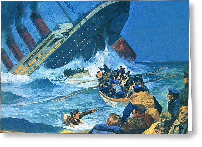 Sinking Of The Titanic Greeting Card by English School