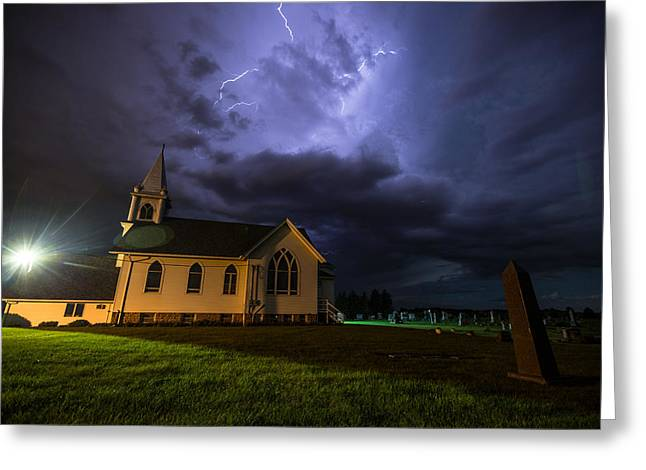 Thunderstorm Greeting Cards - Sinners Welcome Greeting Card by Aaron J Groen