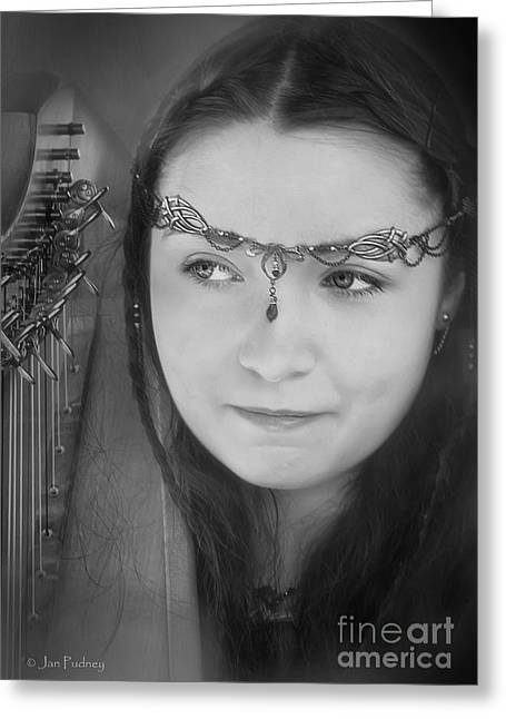 Gumeracha Greeting Cards - Siobhan and her harp Greeting Card by Jan Pudney