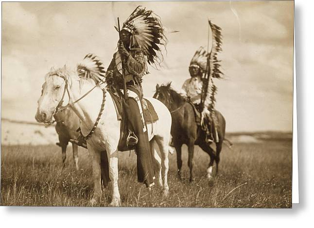 Horseback Photographs Greeting Cards - Sioux Chiefs  Greeting Card by Unknown